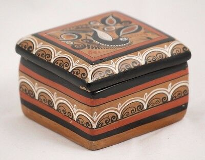 Small Handmade / Painted Mexican Trinket Box Ceramic / Clay Collectible Folk Art