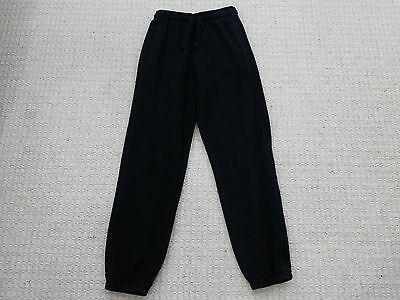 Boys or Girls Black Elasticated Waist Tracksuit Bottoms - M&S - Age 11-12 Years
