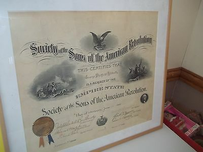 1900 Sons of the American Revolution S.A.R.S Certificate with famous Signatures