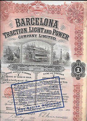 Barcelonia Traction Light & Power---1913--Stock Certificate--No.48766