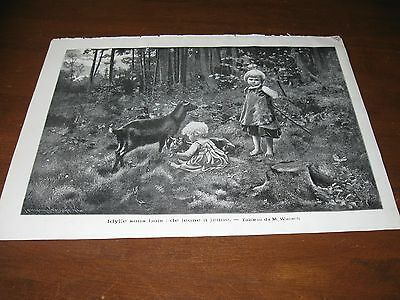 1906 Art Print ENGRAVING - CHILDREN w/ GOATS Goat Kid CHILD Play Playing PET