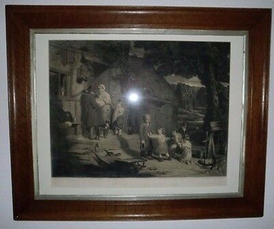Victorian Print in Fine Oak Frame of William Collins RA The Sale of the Pet Lamb