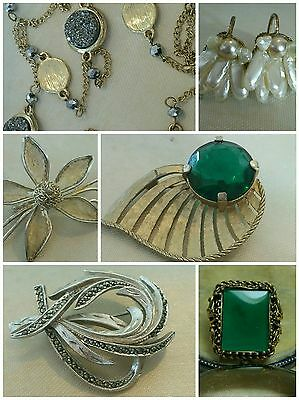 Vintage Mixed Jewellery Job Lot. Art Deco Ring & Brooch. 40's Earrings. Necklace