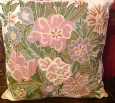 "Handmade EMBROIDERED PILLOW 16"" x16"" made in India"