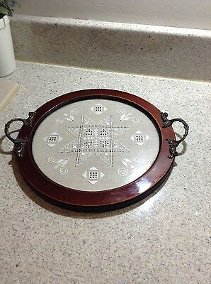 vintage round  tray with hand crochet design
