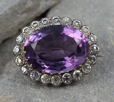 Lovely Vintge 1920's 935 Silver Amethyst Style & Diamond Paste Brooch