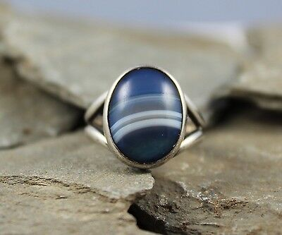 Vintage Silver 1970's Silver Ring With Agate Marble Style ? Stone