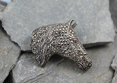 Lovely Vintage Silver & Marcasite Horses Head Brooch