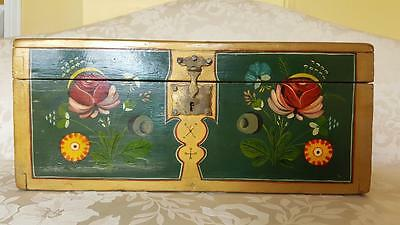 large Antique 'Coffre de Mariage' French Marriage Box 1800's Hand Painted w/Key