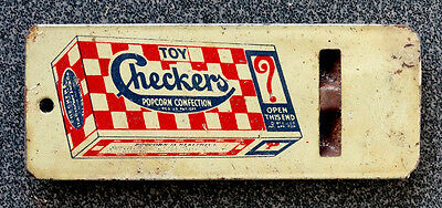 ANTIQUE Vintage CHECKERS POPCORN Advertising TIN WHISTLE PRIZE pre-Cracker Jack