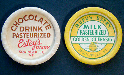 2 Vintage RUFUS ESTEY DAIRY Waxed MILK BOTTLE CAP Lid from SPRINGFIELD VERMONT