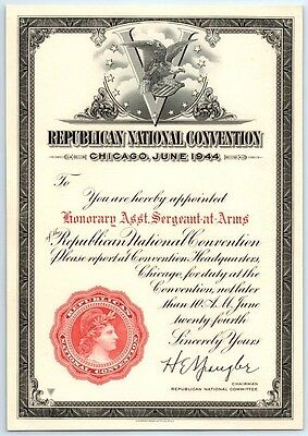 Vintage 1944 RNC REPUBLICAN NATIONAL CONVENTION Chicago APPOINTMENT CERTIFICATE