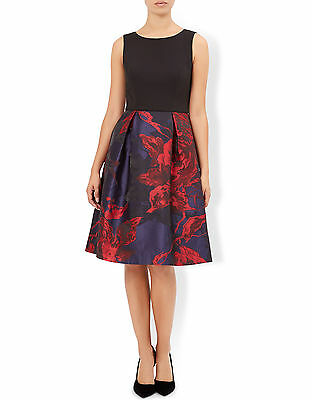 New MONSOON Sinead Navy Blue Red Cocktail Party Dress Size 18 BNWT £149 Sold Out