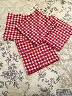 Sterck Red And White 100% Cotton Checked Napkins