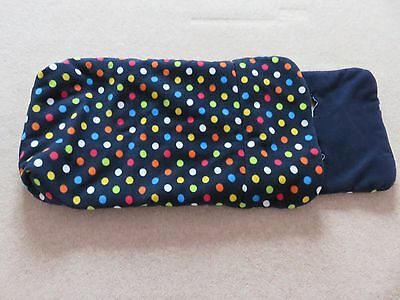 John Lewis-footmuff-Navy with coloured spots-Lovely Condition