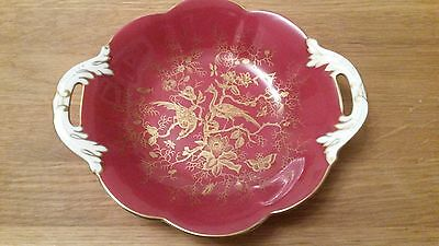 Coalport red and gold twin handle dish 19 cm Cairo design vgc