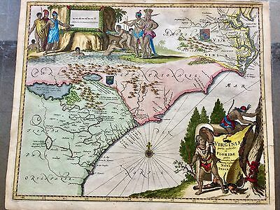 Antique Map 1671 Chesapeake To Florida Very Special Details Coloring