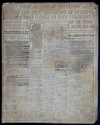 WW1 BRITISH IN PICARDY! 1918 Printing Plate Mold Flong / AUBURN NY Newspaper