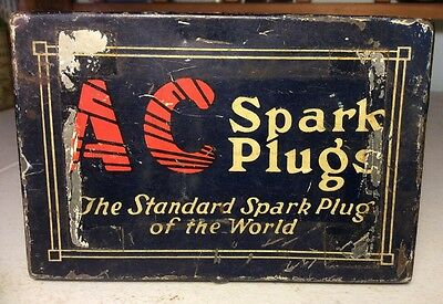 Vintage AC Spark Plug Tin Can Advertising Man Cave Service Scarce Station Motor