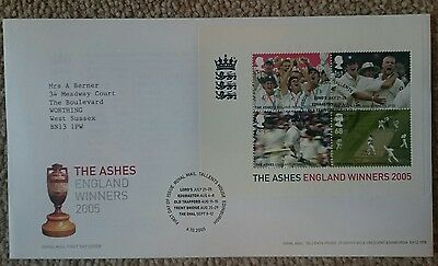 England Cricket The Ashes Winners 2005 First Day Cover Stamps