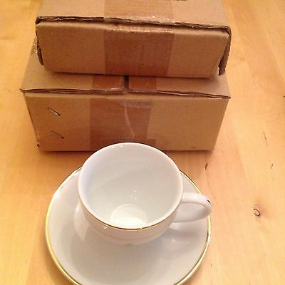 White/gold Set Of 4 Cups & Saucers ( The Queens Golden Jub)