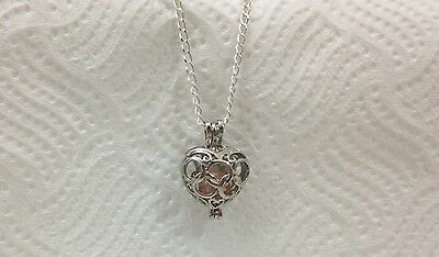 Olympic Heart Pearl Cage Pendant With Necklace and Akoya Oyster Pearl Stunning
