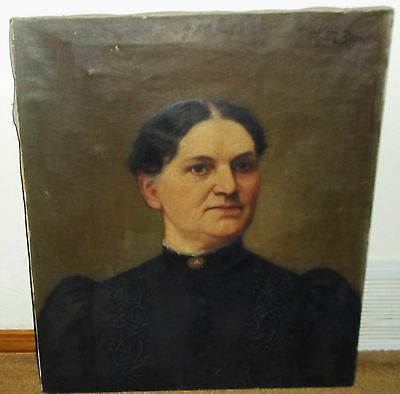 19th CENTURY SIGNED M.M. BROWNE OIL PAINTING PORTRAIT OF A CONNECTICUT LADY