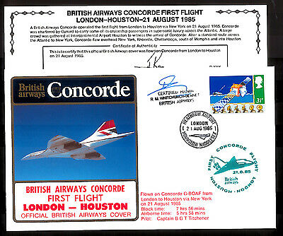21.8.1985 Ba Concorde Courier R.whitchurch-Bennett Signed Cover~London-Houston
