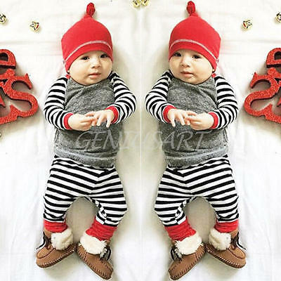 Newborn Baby Cotton Boy Girl Striped Top Long Trousers Hat Outfit Clothes 6-12M