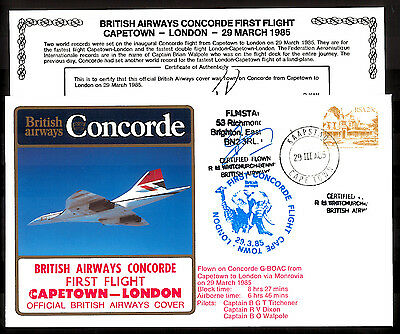 29.3.1985 Ba Concorde Courier R. Whitchurch-Bennett Signed Cover~Capetown-London
