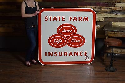1950's State Farm Insurance AUTO LIFE FIRE tin embossed large Gas Oil Auto Sign