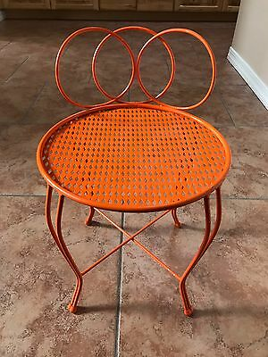 Vintage 30-40's Orange Metal Vanity Chair Stool