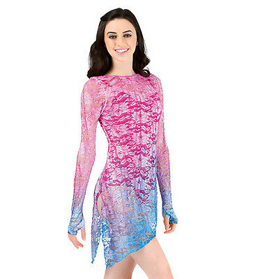 NWT Watercolour Long Sleeve Lace Overdress - Girls L - Perfect for competition