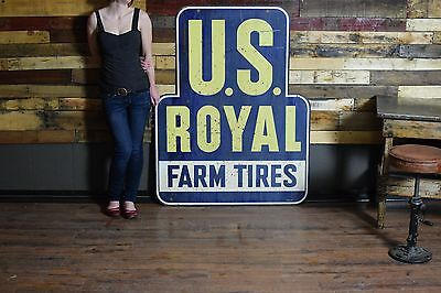 1940's 2 sided tin advertising sign US Royal Farm Tires Gas Oil Tire Service