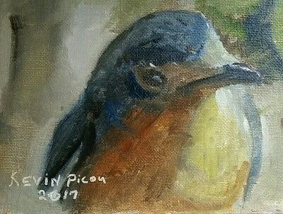 Art Bird oil Painting 5x7 Canvas Panel  Signed and Dated by Artist Kevin Picou