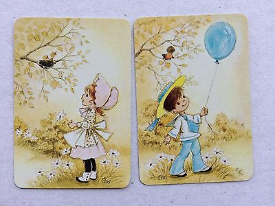 Vintage Swap / Playing Card Pair - MINIATURE - Children - Girl & Boy - CHRI