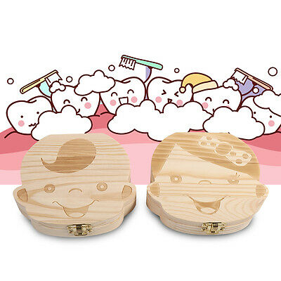 Milk Teeth Wooden Tooth Storage Box Small Kids Childs Baby Save 3-6 Years JS