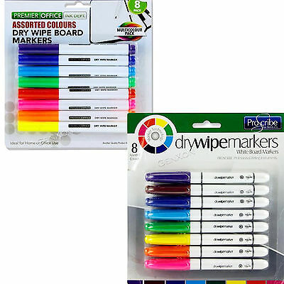 Whiteboard Markers Dry Wipe 8 Erasable Marker  Board Colour Pens