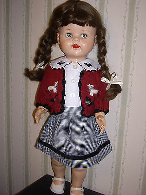 """Vintage Saucy Walker Rarer Brunette 22"""" New Scottie Outfit with Sweater CUTE!!"""