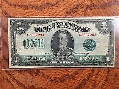 1923 $1.00 Dominion Of Canada note green seal 94 years old.