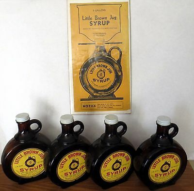 FOUR (4) VINTAGE LITTLE BROWN JUG SYRUP BOTTLES ST LOUIS w ADVERTISING PAGE