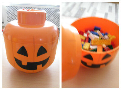 Lego Head Stack-able Storage Box: Jack O lantern - with Lego included