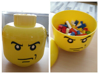 Lego Head Stack-able Storage Box: Angry Man - with Lego included