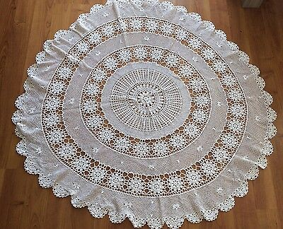 Small Round Vintage Crochet Tablecloth - White