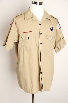 Boy Scout Leader Shirt Sz XL Mens Khaki Short Sleeves with Patches Authentic