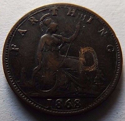 1868 Great Britain Farthing! Vf! Rare!