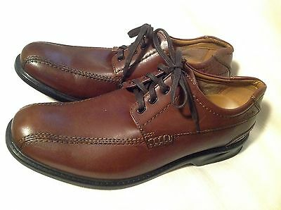 Men's Clarks Lace Up Brown Leather Loafers EUC Size 11.5