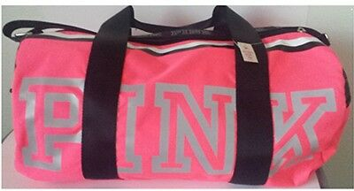 Victorias Secret PINK Red Weekender Duffel Gym Travel Bag Silver Logo Straps NWT