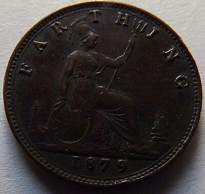 1879 Great Britain Farthing! Xf! Rare! Catalog Km# 753 Xf=$50! Great Details!