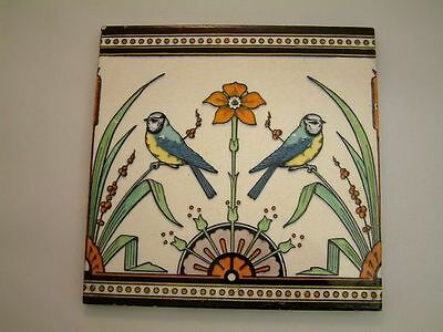 Rare 1870 Mintons- Jardiniere Tile by Dr Christopher Dresser Bluetits on grasses